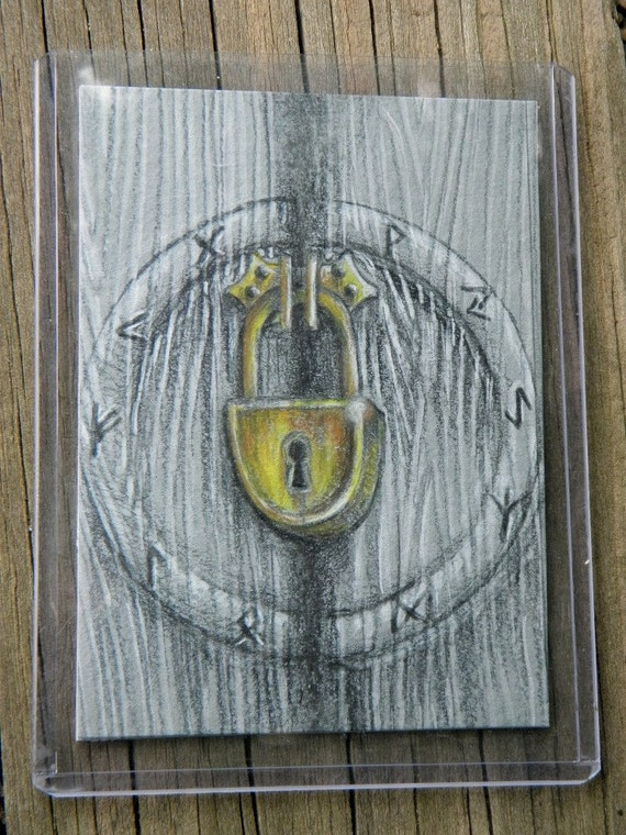 ACEO Card Lost Art from the Archives,  Unpublished Illustration, Rune Lock Box Original Art OOAK by Mickie Mueller