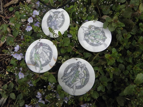 Set of Four Celtic Fairy Magic Amulets, Mother of Pearl by Mickie Mueller