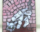 Stalking CAT SunCatcher- Mosaic Stained Glass SunCatcher or wall Decoration