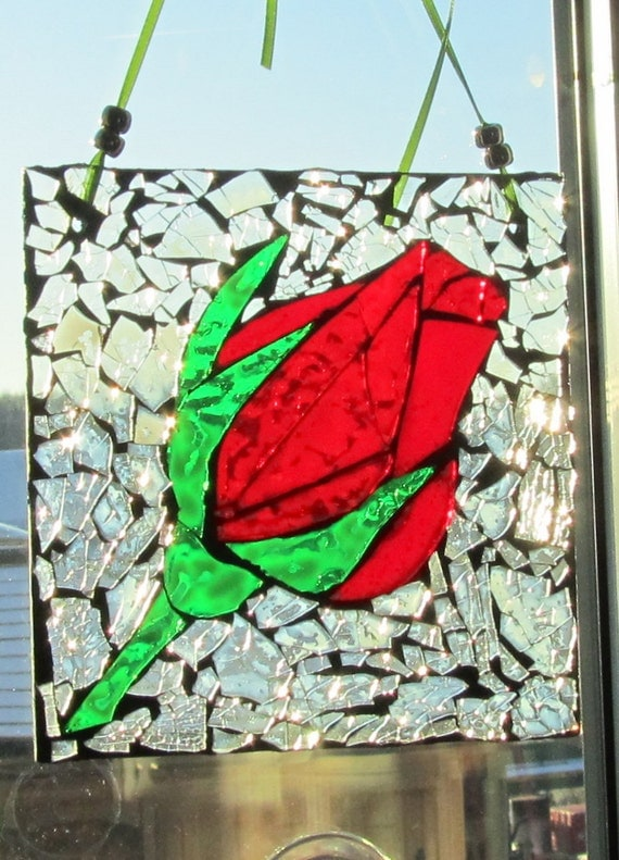 Mosaic. Red Rose - Mosaic Stained Glass SunCatcher or wall Decoration
