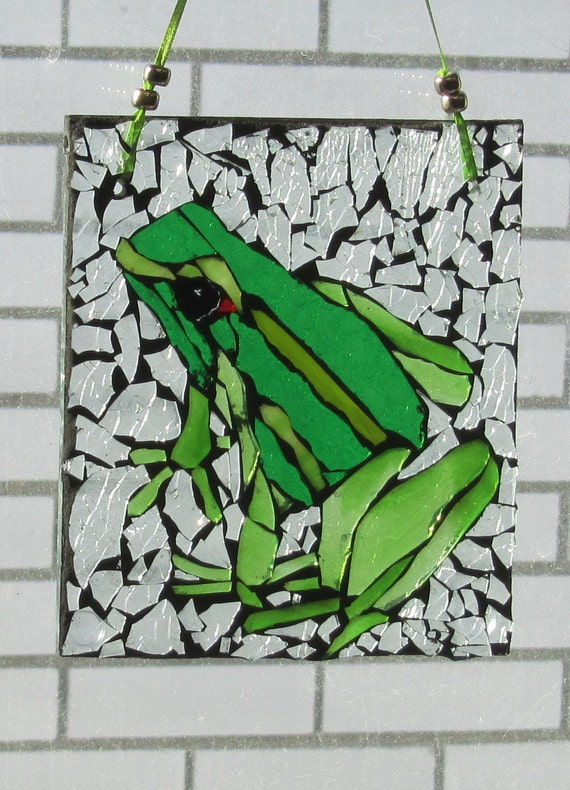 Mosaic- Glassy Frog-Stained Glass SunCatcher or wall Decoration
