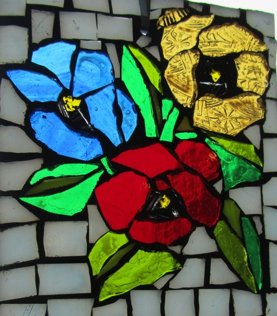PANSY -  Stained Glass SunCatcher or wall Decoration