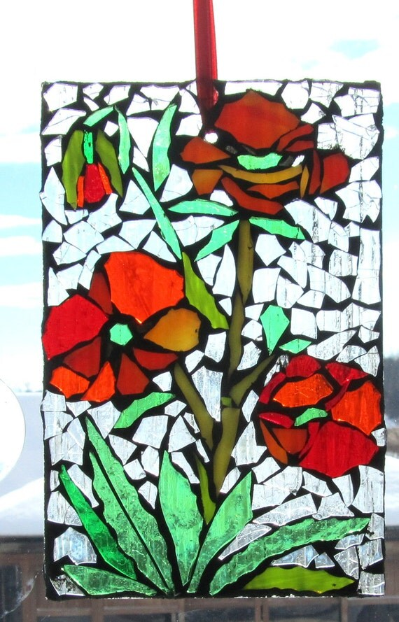 Poppy  Stained Glass SunCatcher or wall Decoration