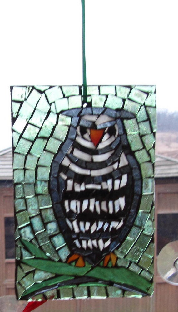 Mosaic Stained Glass OWL SunCatcher or wall Decoration