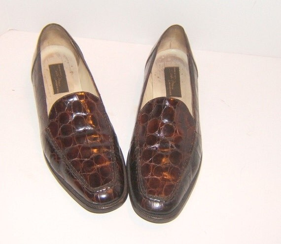 Vintage Sesto Meucci Brown Croc Print Leather Loafers Size 7.5 M