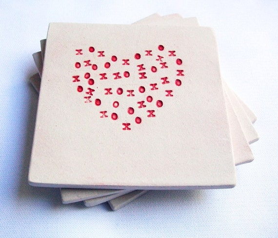 XOXO Heart Coasters (Set of 4, Red and White, Ceramic) by artlauren