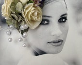 Romantic Ivory  Roses with pearls  Hair Flower cluster -  Hair clip -WEDDINGS-