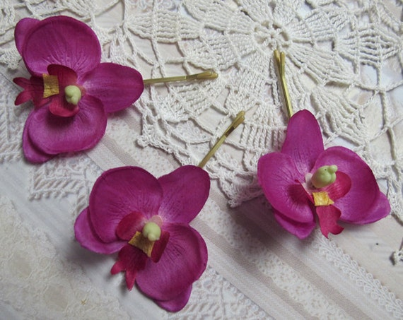 FUSCHIA Orchids SET OF 3 bobby pins flowers-hair clips - Weddings