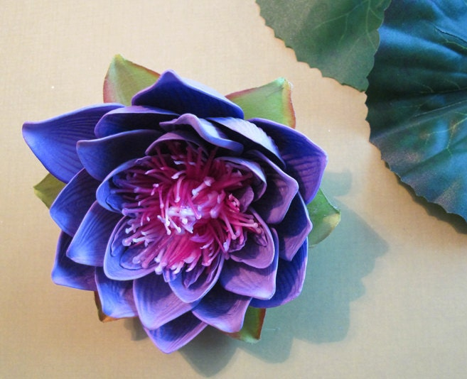 purple lotus hair flower clip wedding hawaiian, Beautiful flower