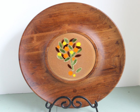 Tree of Life Mid Century Large Tray Enamel over Copper and Walnut Wood Ernest Sohn
