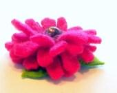 Hot Pink Gerbera Daisy Felt Brooch