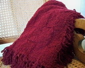 Hand knit extra soft blanket throw, wine, burgundy. DISCONTINUED COLOR