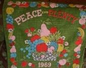 Calendar Tea Towel with Fruit of Plenty Motif Vintage 1969