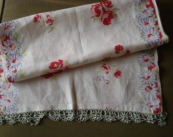 Vintage Linen Runner Scarf, Tatted Edge, Price Reduced