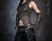 Made-To-Order: The Tribal SciFi Sparkle Dune-Tunic w/ArmWarmers & Hood (ChainMail Gold w/Black Fringe)