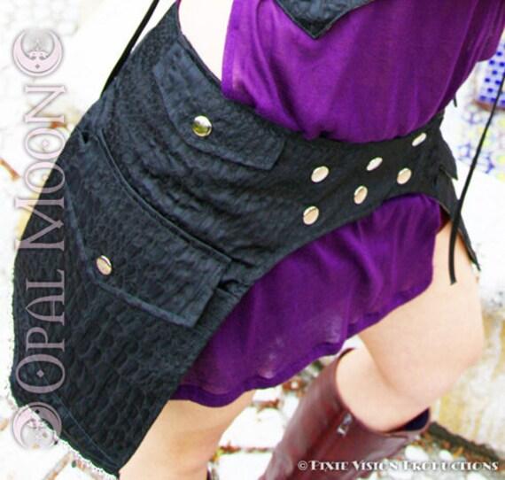 LAST ONE- The Black Brocade Snap Front Adjustable Goddess Armor Pocket Belt/Skirt -Moonshine Morrigan- Size M)