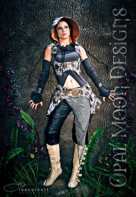 RESERVED for Melly- The Artemis Tapestry Underbust Vest/Harness w/DETACHABLE Hood, Pocket Skirt &  Dune Set(size S)