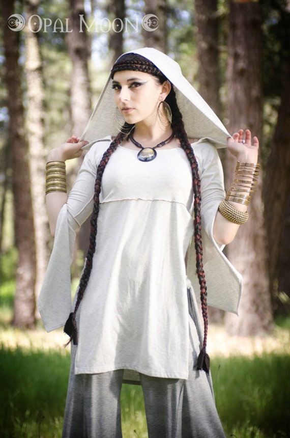BURNING MAN SALE- Last One: The MidSummer Hooded Tunic Top in Heather White by Opal Moon Designs (Size M)
