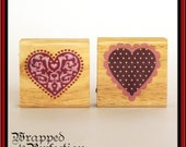 Set of 2 Heart Rubber Stamps NEW Valentine Anniversary Love Wedding Engagement