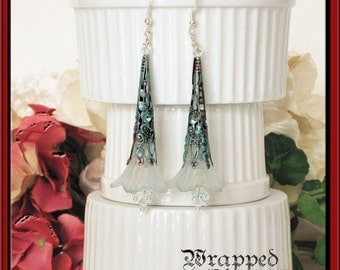 Garden Wedding / Victorian Tussie Mussie Trumpet Flower Earrings / SHABBY CHIC / Summer Romantic Feminine / Swarovski Crystal / Verdigris