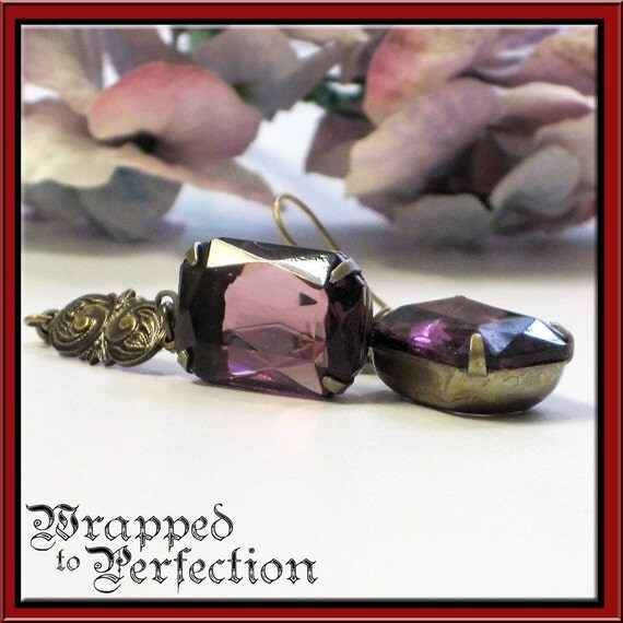 Large Emerald Cut Amethyst Glass Jewel Earrings / Antique Brass Purple Grape Violet Lilac February Renaissance