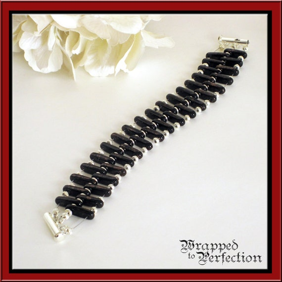 Hematite and Sterling Silver Bracelet TANDEM Design in Black & Silver Natural Stone Modern Goth Spinal Cord Spine