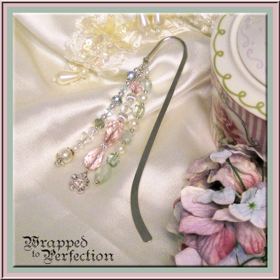 Downton Abbey Beaded Bookmark /  Pink & Aqua / Victorian Card / SHABBY CHIC / Feminine / Crystals, Pearls, Flower Charm /  Feminine Romantic