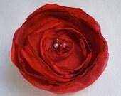 Red fabric flower pack (5) layered, handmade embellishment