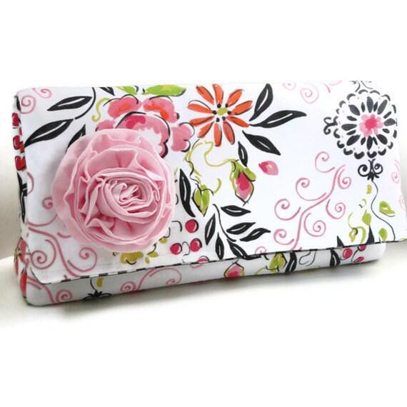 SALE Clutch Handbag, purse,  pink and white