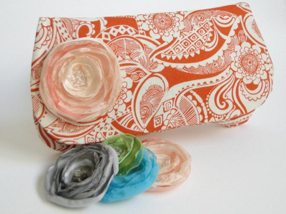 Clutch, Bridesmaids gifts, Special Order for Diane, wedding colors orange, persimmon, guava