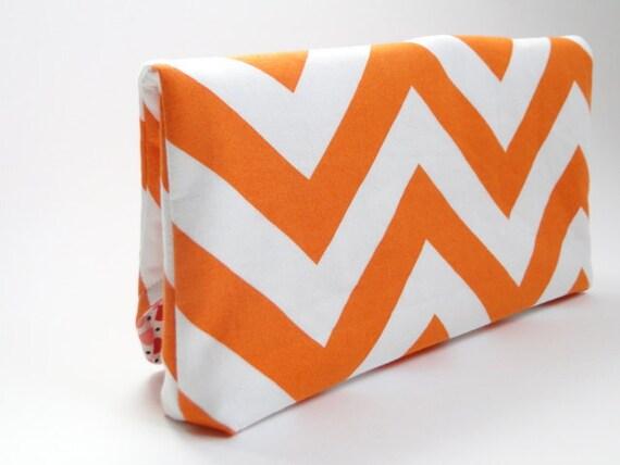 Clutch Handbag, purse, orange, chevron stripe