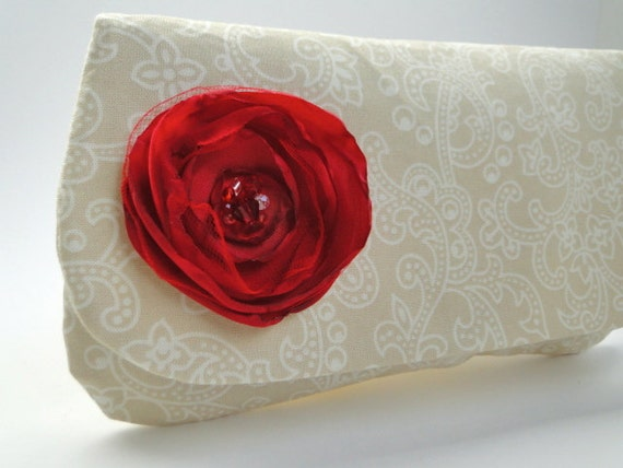 Clutch, Bridesmaids gifts, taupe, cream wedding, red, ruby
