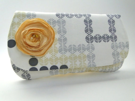 Clutch, Bridesmaids gifts, gray and yellow wedding,