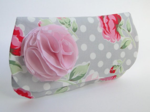Gray clutch, pink and rose print, bridesmaids gifts