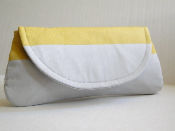 gray and yellow clutch, bridesmaids gifts, cotton clutch