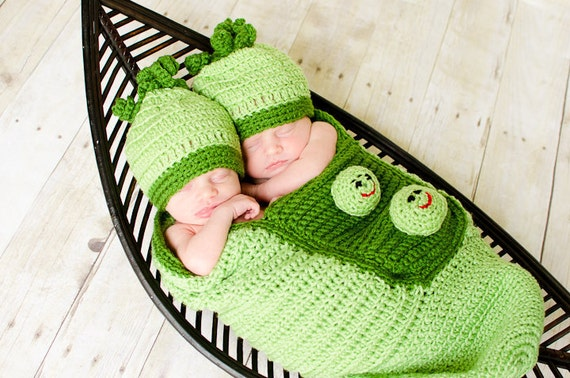Items Similar To Crochet Newborn 2 Sweet Peas In A Pod