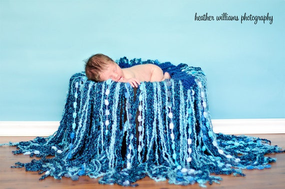 Crochet Newborn Fringe Blanket Baby Boy Photography Prop