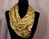 Summer Savannah Burnout Satin and Silk Scarf - Gold and Brown