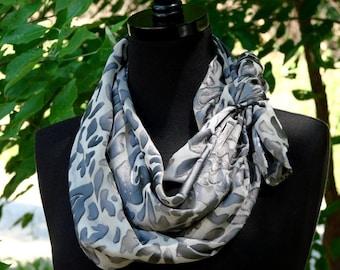 Black and Grey Floral Silk Scarf