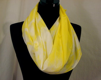Hot Yellow and White Hand Dyed  Pure Silk Scarf
