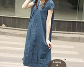 comfortable linen short sleeve sundress(more colour and size choice)-X9