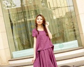 Linen purple loose dress(more colour and size choice)-A12