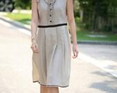 Linen light beige sundress(more size and colour choice)F0020