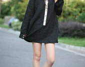 babydoll black linen shirt(more colour and size choice)-G12
