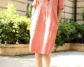 peony pink grid linen dress(more colour and size choice) -A1020