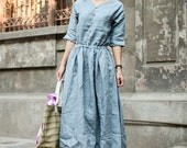 Oceans Deep-light blue linen dress(more colour and size choice)