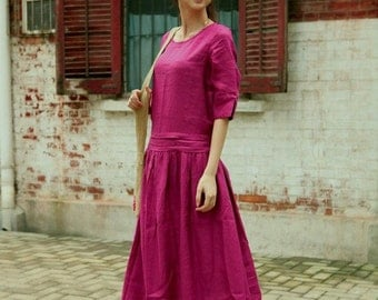 New style Pink long sleeve sundress/tunic(more colour and size choice)-D58
