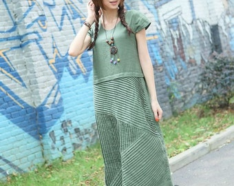 Spring new design-grass green linen sundress(more color and size choose)