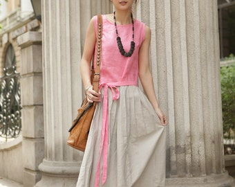 Pink concise style long sundress(more colour and size choice)