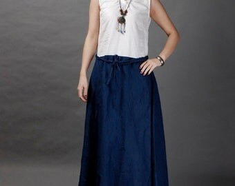 White come with navy blue linen sundress(more colour and size choice)